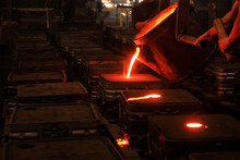 Traditional Smeltery. In Metalworking And Jewellery Making, Casting Is A Process In Which A Liquid Metal Is Somehow Delivered Into A Mold That Contains A Negative Impression Of The Intended Shape.