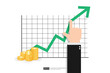 Increase profit sales diagram. Hand with business chart growth in flat style design. increasing graph investment revenue with line arrow and businessman hand vector illustration concept to success