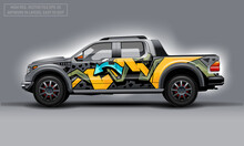 Editable Template For Wrap SUV With Abctract Graffiti Decal. Hi-res Vector Graphics.