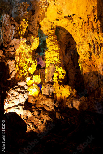 Colorful cave walls formed from natural rock