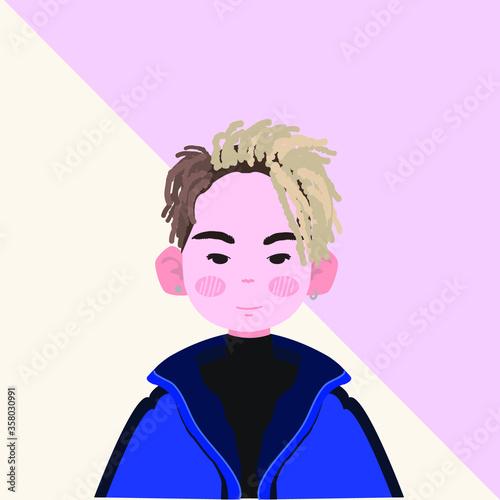 Cute Asian Boy Vector Illustration Canvas Print