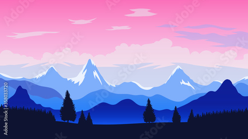 Mountains view with trees, blue hills, snow covered high peaks and cloudy sky Wallpaper Mural