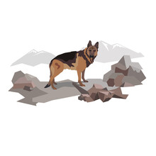 Dog. German Shepard. Rescuer. Adventures And Job. Pets.Illustration For Book, Calendar, Poster, Banner, Booklet, Brochure.