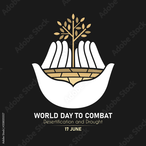Fotografija World Day Combat Desertification And Drought with white hand hold dry trees and