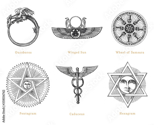 Fotografiet Drawn sketches of mystical symbols