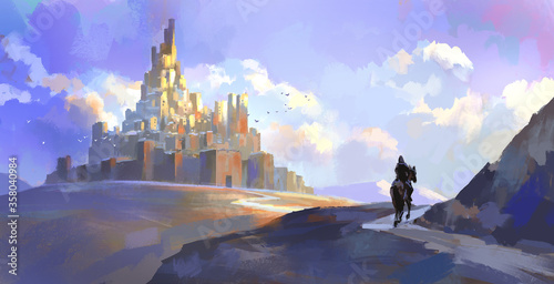 Fotografie, Obraz Knights of the medieval castle,Digital painting.