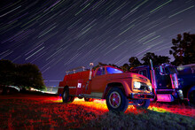Vintage Truck At Night With Li...