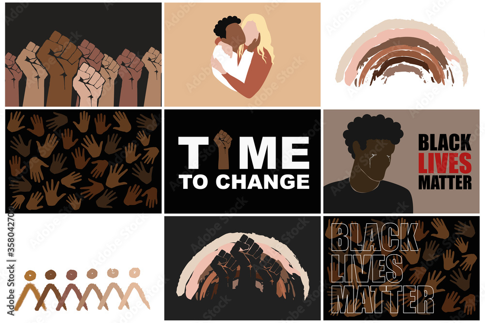 Fototapeta Black lives matter set. Stop racism. Protesting fist, multiracial persons hugging, different hands, man crying, rainbow and abstract people  in different races skin colors. Modern vectors