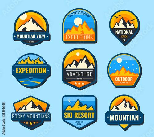 Obraz na plátne Snow mountains flat labels set