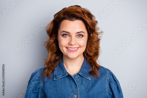 Obraz Portrait of pretty lovely ginger hair girl look toothy smile enjoy summer spring rest relax with job work friends wear stylish clothes isolated over grey color background - fototapety do salonu