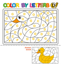 ABC Coloring Book For Children. Color By Letters. Learning The Capital Letters Of The Alphabet. Puzzle For Children. Letter D. Duck