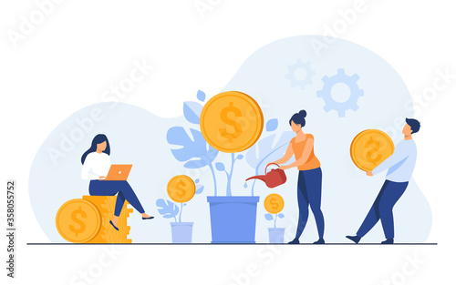 Foto Young investors working for profit, dividend or revenue flat vector illustration