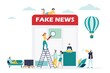 News concept with team people and page design. vector illustration