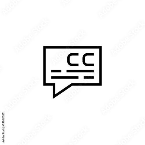 Valokuva Subtitle vector icon in black line style icon, style isolated on white backgroun