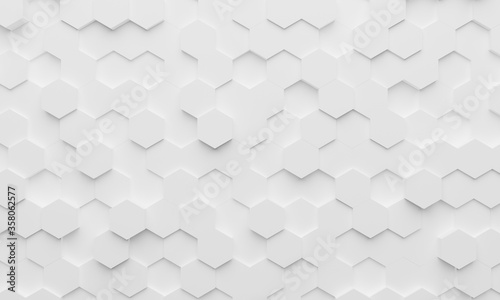 Obraz White wall of honeycombs. Chaotic Cubes Wall Background. Panorama with high resolution wallpaper. 3d Render Illustration - fototapety do salonu