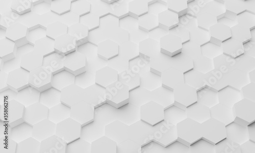 White geometric hexagonal abstract background. Surface polygon pattern with glowing hexagons, hexagonal honeycomb. Abstract white self-luminous hexagons. Futuristic abstract background 3D Illustration - 358062715