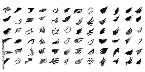 Slika na platnu Set Black Line Flat Collection Wings Vector Icon Feather Design Style Decoration