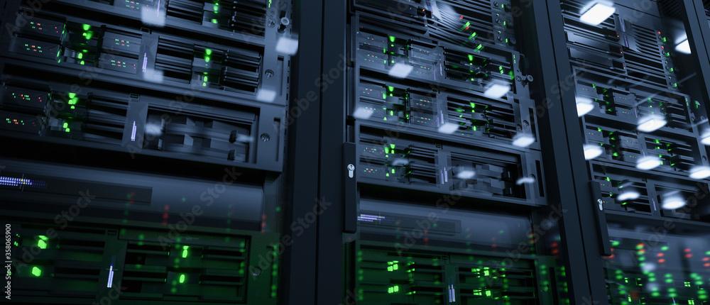 Fototapeta Server units in cloud service data center showing flickering light indicators for massive data connection bandwidth, close up shot
