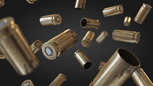 Flying Bullet Shells On A Black Studio Background.Photorealistic 3D Illustration. Empty. War, Conflict Ammo Supply