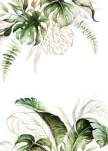 Watercolor Tropical Floral Border - Green, Blush & Gold Leaves. For Wedding Stationary, Greetings, Wallpapers, Fashion, Background.