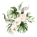 Watercolor tropical floral bouquet - green leaves and blush flower. For wedding stationary, greetings, wallpapers, fashion, background. - 358069712