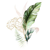 Watercolor tropical floral bouquet - green, blush & gold leaves. For wedding stationary, greetings, wallpapers, fashion, background. - 358070166