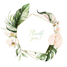 Tropical Exotic Watercolor Floral Geometric Frame. Green & Gold Leaves, Blush Flowers. For Wedding Stationary, Greetings, Wallpaper, Fashion, Background. Palm Fern Banana Green Leaves.