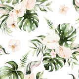 Green tropical leaves and blush flowers on white background. Watercolor hand painted seamless pattern. Floral tropic illustration. Jungle foliage. - 358070977