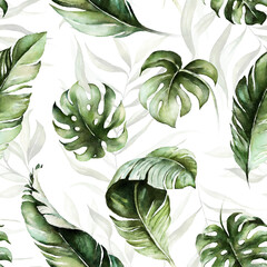 Panel Szklany Drzewa Green tropical leaves on white background. Watercolor hand painted seamless pattern. Floral tropic illustration. Jungle foliage.