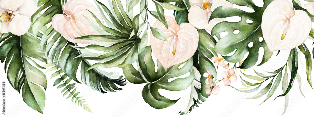 Fototapeta Green tropical leaves and blush flowers on white background. Watercolor hand painted seamless border. Floral tropic illustration. Jungle foliage pattern.