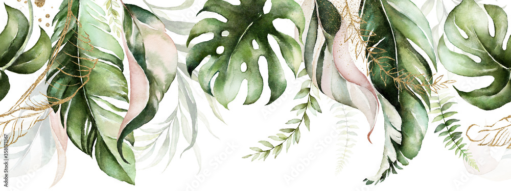 Fototapeta Green and blush tropical leaves on white background. Watercolor hand painted seamless border. Floral tropic illustration. Jungle foliage pattern.