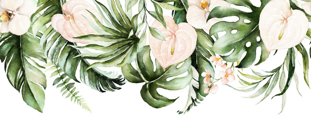 Naklejka Liście Green tropical leaves and blush flowers on white background. Watercolor hand painted seamless border. Floral tropic illustration. Jungle foliage pattern.