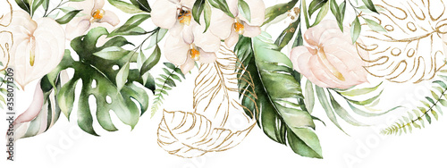 Fototapeta Green tropical leaves and blush flowers on white background. Watercolor hand painted seamless border. Floral tropic illustration. Jungle foliage pattern. obraz