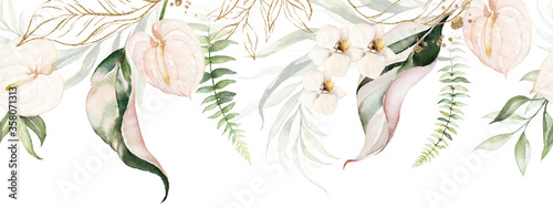 Fotografie, Tablou Green tropical leaves and blush flowers on white background