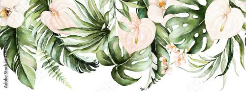 do-salonu-zielone-tropikalne-liscie-i-rumience