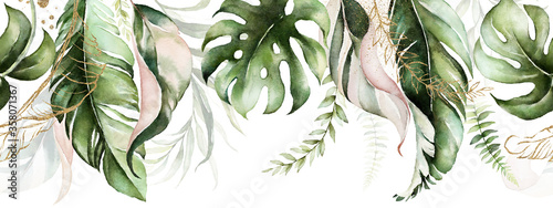 Green and blush tropical leaves on white background. Watercolor hand painted seamless border. Floral tropic illustration. Jungle foliage pattern.