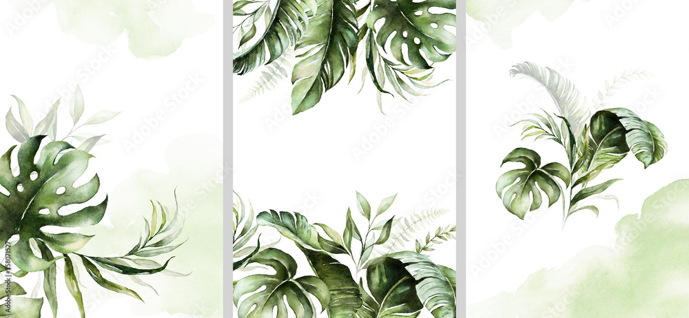 Fototapeta Watercolor tropical floral templates set - bouquet, frame, border. Green leaves. For wedding stationary, greetings, wallpapers, fashion, background.