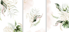 Watercolor Tropical Floral Templates Set - Bouquet, Frame, Border. Green Gold Leaves. For Wedding Stationary, Greetings, Wallpapers, Fashion, Background.