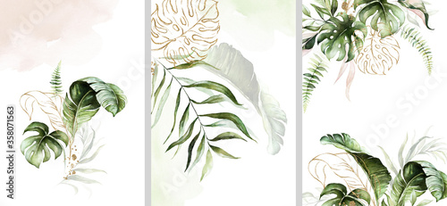 Fototapeta Watercolor tropical floral templates set - bouquet, frame, border. Green gold leaves. For wedding stationary, greetings, wallpapers, fashion, background. obraz