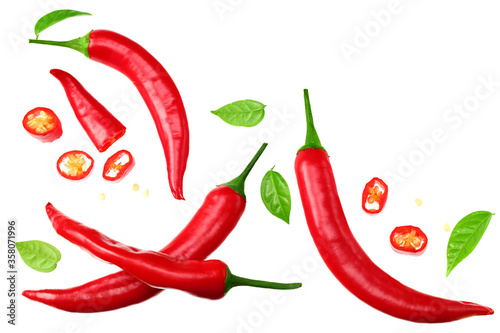 sliced red hot chili peppers isolated on white background top view Canvas