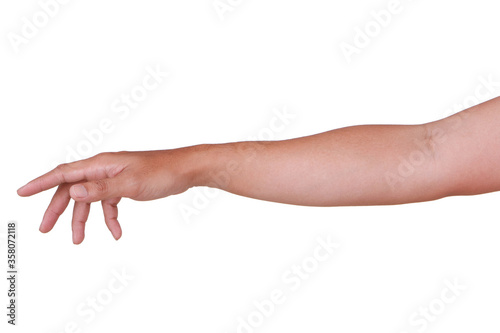 Male asian hand gestures isolated over the white background. Canvas Print