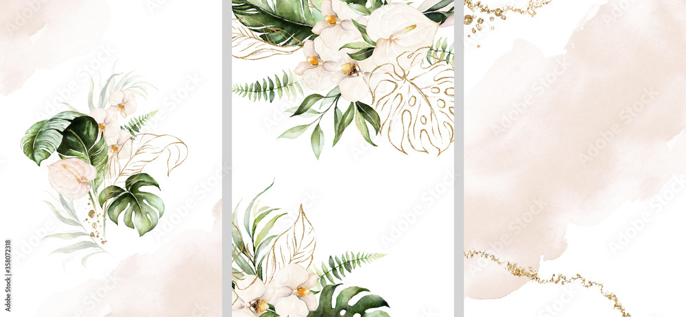 Fototapeta Watercolor tropical floral templates set - bouquet, frame, border. Green gold leaves, blush flowers. For wedding stationary, greetings, wallpapers, fashion, background.
