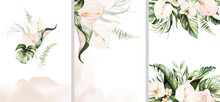 Watercolor Tropical Floral Templates Set - Bouquet, Frame, Border. Green Leaves, Blush Flowers. For Wedding Stationary, Greetings, Wallpapers, Fashion, Background.