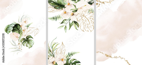 Fototapeta Watercolor tropical floral templates set - bouquet, frame, border. Green gold leaves, blush flowers. For wedding stationary, greetings, wallpapers, fashion, background. obraz