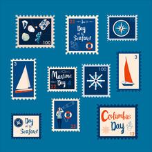 Set Of Marine Theme Stamps. Da...