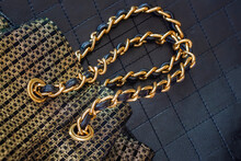 Golden Black Handbag With Hand...