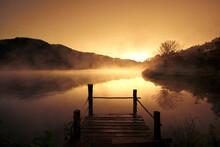 Morning Fog Over Scenery Lake ...
