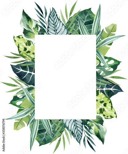 Fotomural Tropical leaves watercolor rectangular outer frame with copy space