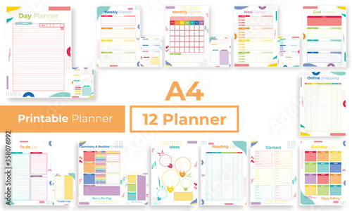 Obraz Minimalist colorfull planner pages templates collection set of vector paper A4 Ai, EPS 10 design - fototapety do salonu