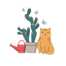 Vector Illustration With Cat, ...